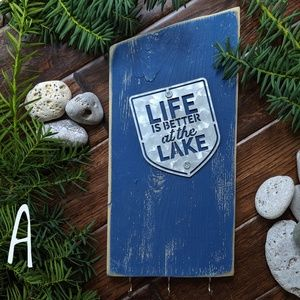 Life Is Better At The Lake Handmade Key Holder